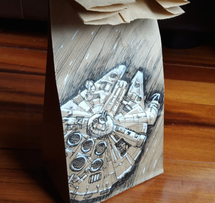 The greatest space ship ever, the Millennium Falcon. –by LunchbagArt–